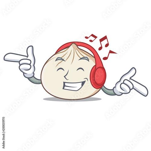 Listening Music Dimsum Mascot Cartoon Style Buy This Stock Vector And Explore Similar Vectors At Adobe Stock Adobe Stock