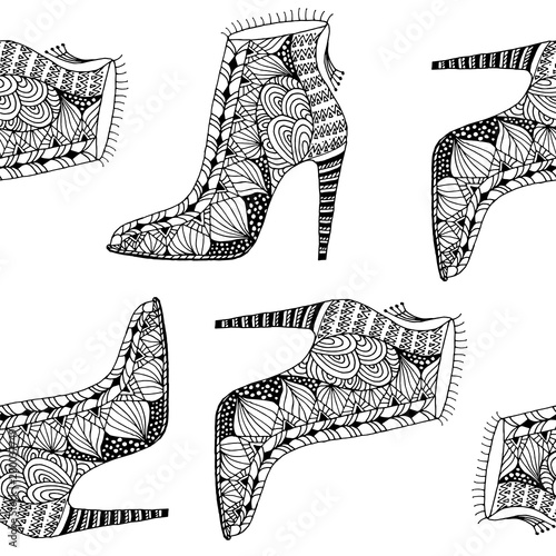 Cotton fabric seamless background with fantasy pattern shoes