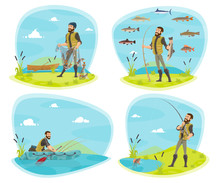 Fishing Sport Icon Of Fisherman With Fish
