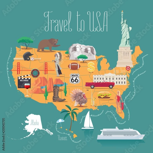 Map of USA vector illustration, design Wallpaper Mural