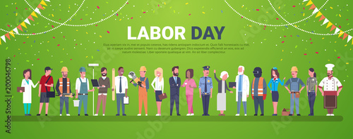 Labor Day Decoration Poster With People Of Different Occupations Over Template Background Flat Vector Illustration