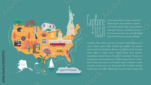 Photo  Map of USA vector illustration, design