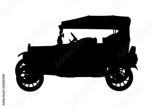 silhouette of retro car vector Wallpaper Mural
