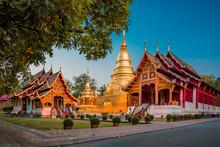 Stunning Wat Phra Singh Woramahawihan Buddhist Temple At Sunrise In Chiang Mai, Thailand