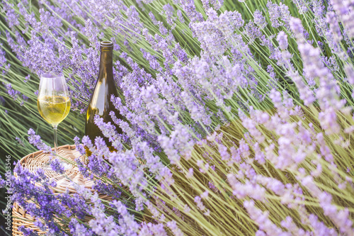 Photo  Delicious champagne over lavender flowers field