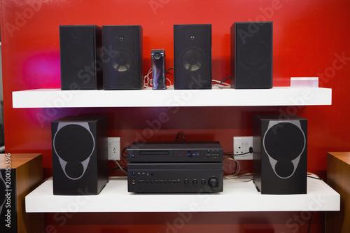 Speakers on display