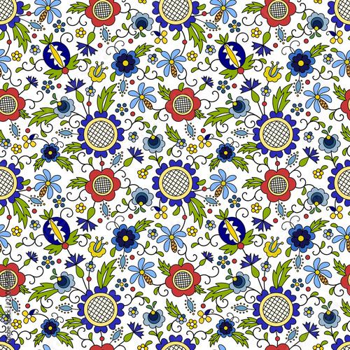 e23f7dfa Obraz na Płótnie Traditional, modern Polish - Kashubian floral folk ...