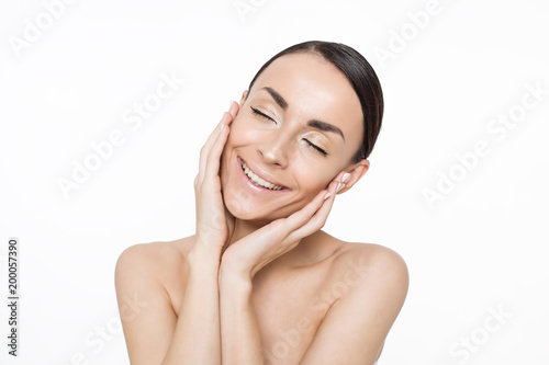 Fototapeta Portrait of beautiful woman. Beauty and Spa. Concept of skin care obraz na płótnie