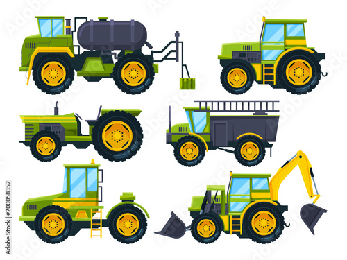 Fotografía  Agricultural machinery. Colored pictures in cartoon style