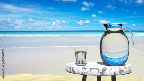 Photo Travel agency tempting vision, perfect hols, vacation in paradise -  blue sky, y