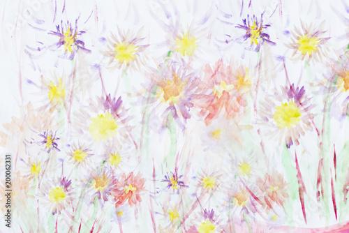 Kwiat tła akwarela