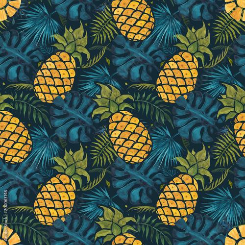 ananasowy-tlo-recznie-rysowane-ilustracji-akwarela-szwu