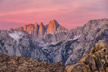 Mountain Whitney View On Sunrise At Alabama Hills, Eastern Sierra Nevada Mountains, Lone Pine, California, USA.