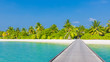 Tropical paradise beach. Wooden pier into the shadows of palm trees, azure lagoon water and blue sky