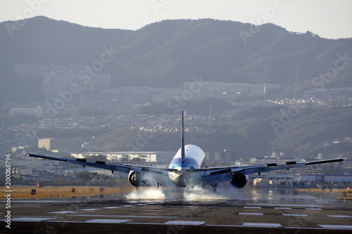 Tuinposter 着陸直前の旅客機