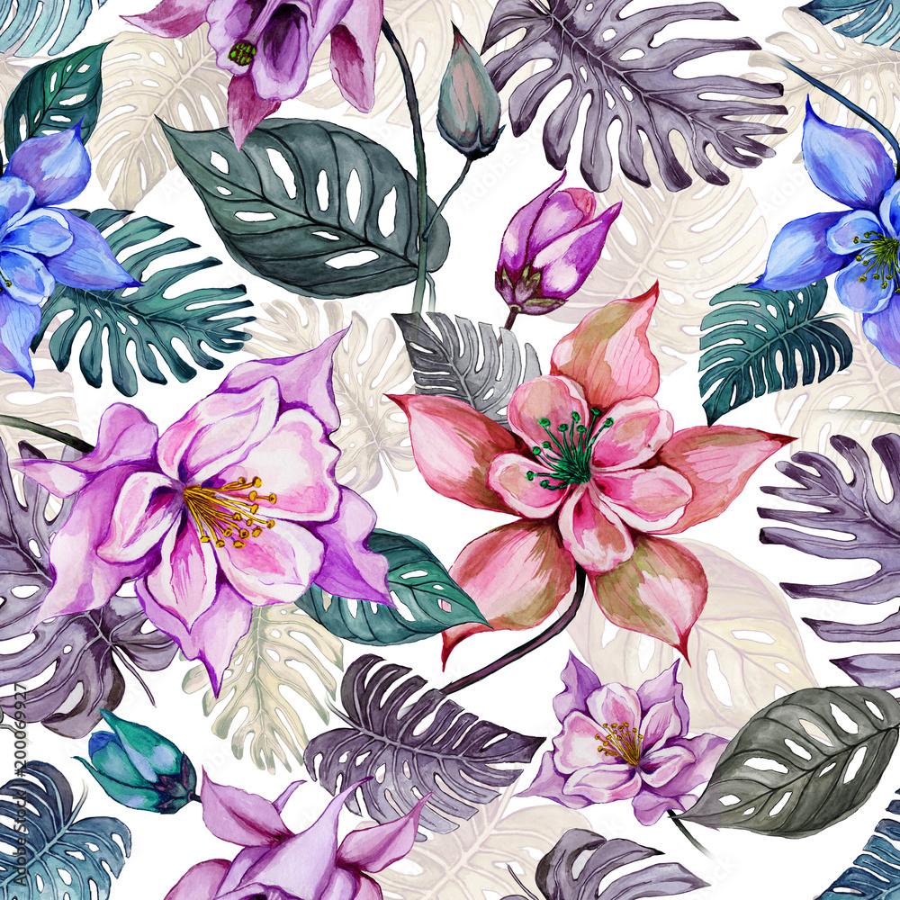 Piękni aquilegia lub kolombiny kwiaty i egzotyczni monstera opuszczają na białym tle. Malarstwo akwarelowe. Tropikalny kwiatowy wzór. Ręcznie rysowane