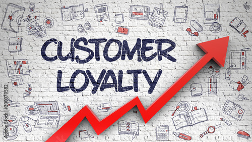 Stampa su Tela  Customer Loyalty Drawn on White Wall. 3d