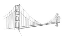 Hand Drawn Architecture Sketch Illustration Of Golden Gate Bridge, San Francisco CA USA Isolated On White