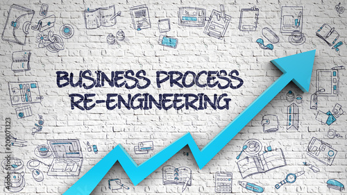 Business Process Re-Engineering Drawn on White Wall. 3d Canvas-taulu