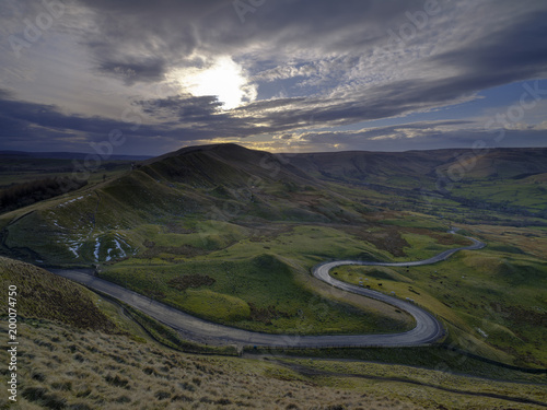 Printed kitchen splashbacks Beige Spring Evening Sunset on Mam Tor with interesting sky looking towards RushUp Ridge with a view over the winding road from Winnats Pass to Edale