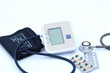Digital Blood Pressure Monitor on white background Health and Medical concept