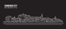 Cityscape Building Line Art Vector Illustration Design - Edinburgh City