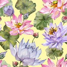 Beautiful Floral Seamless Pattern. Large Pink And Purple Lotus Flowers With Leaves On Yellow Background. Hand Drawn Illustration. Watercolor Painting.
