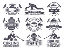 Monochrome Badges Of Curling. ...