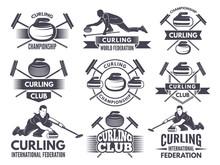 Monochrome Badges Of Curling. ...
