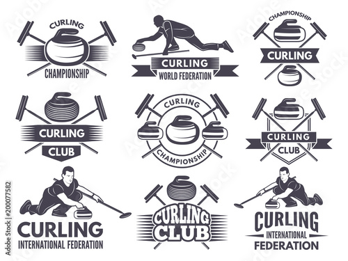 Fotografering Monochrome badges of curling. Labels for sport teams