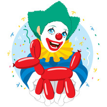 Happy Smiling Clown Holding Red Balloon Dog Figure