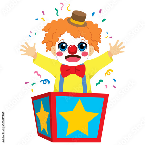 Fotografie, Tablou  Cute little happy clown boy coming out of inside surprise box