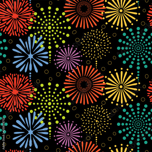 Hand drawn seamless vector pattern with colorful bright