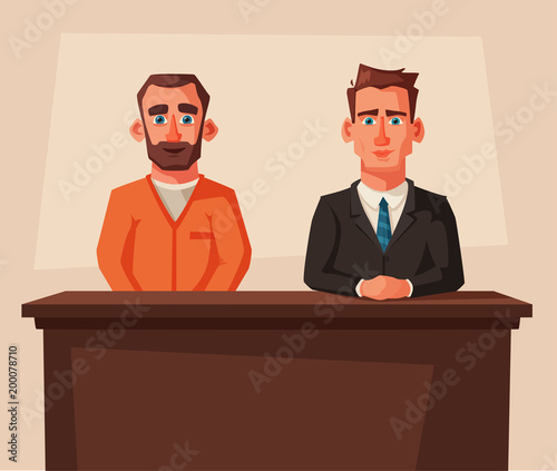 Serious lawyer sits by the table in courthouse with defendant Wallpaper Mural