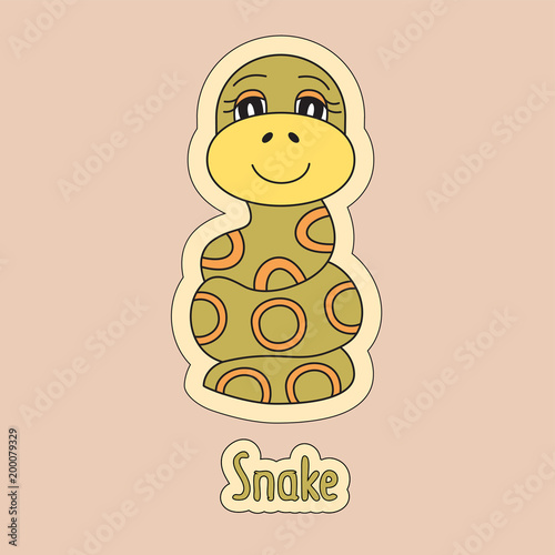 Fotografia  Cartoon snake, symbol of the Chinese horoscope 2025 year