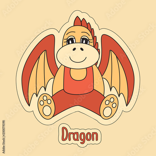 Poster  Dragon, cartoon symbol of the Chinese horoscope 2024 year