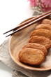 Asian food, Fish cake on wooden plate