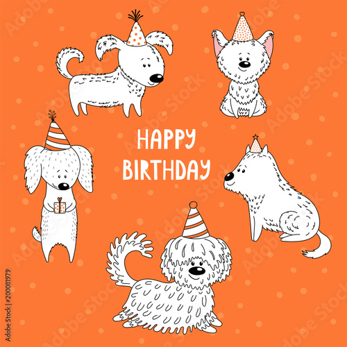 Hand Drawn Vector Illustration With Different Cute Funny Cartoon Dogs In Party Hats Text Happy Birthday Isolated Balck And White Objects