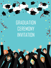 Graduation Poster With Happy Graduates Throwing Graduation Hats In The Sky.