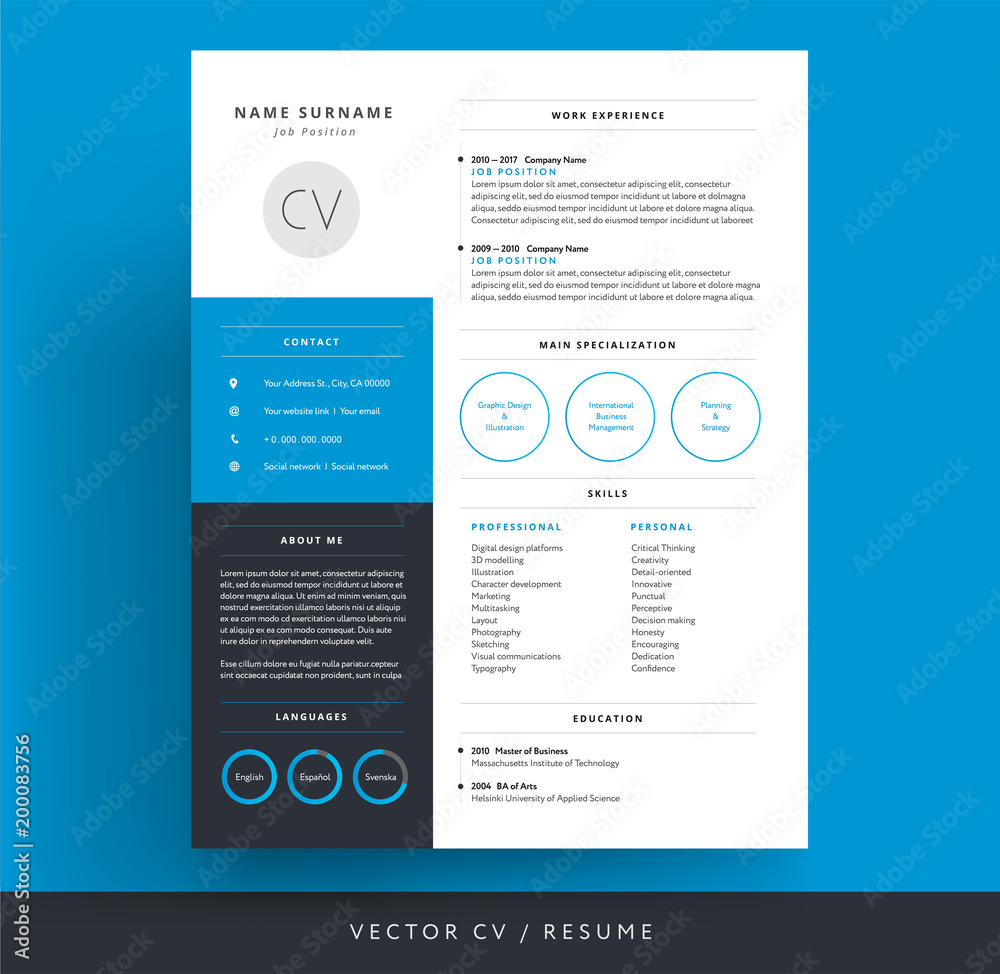 Photographie Blue Cv Resume Template Background Color Minimalist