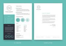 Elegant CV / Resume Template Teal Green Background Color Minimalist Vector