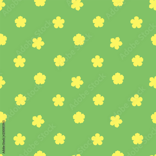 Hand Drawn Seamless Vector Pattern With Yellow Flowers On A