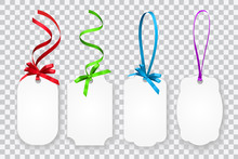 Vector Set Of Blank Gift Cards Or Coupons With Colorful Strings With Ribbons Isolated On Transparent Background
