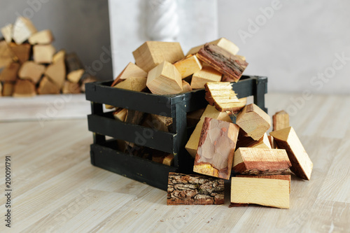 Tuinposter Brandhout textuur Pile of firewood