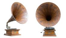 Retro Old Gramophone Isolated On White