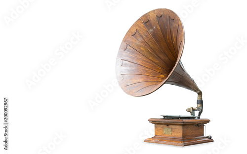 retro old gramophone isolated on white Wallpaper Mural