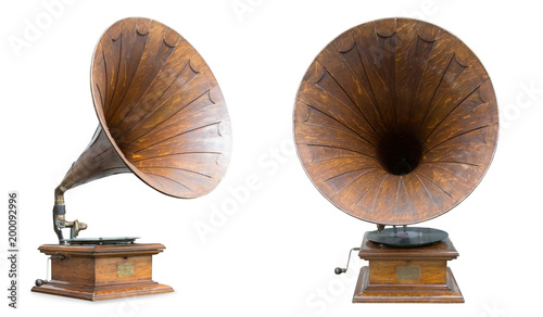 retro old gramophone isolated on white Canvas Print