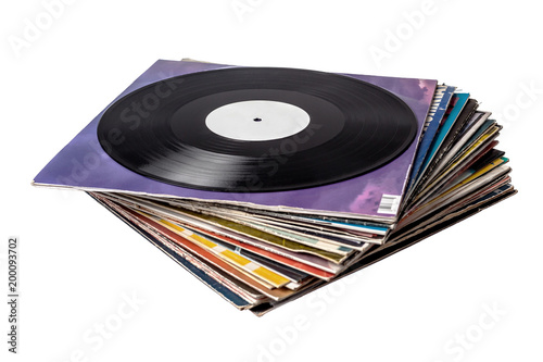 Stack of vinyl records covers isolated on white Fototapet