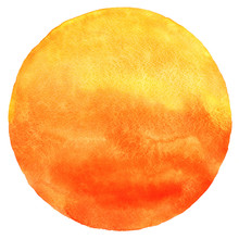Watercolor Sun Isolated On Whi...