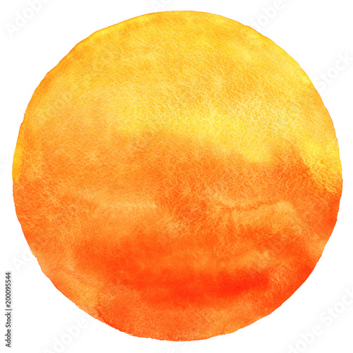Obraz Watercolor sun isolated on white background. Sunset or rising sun illustration. Fire, tropical, flame colors round shape with watercolour stains. Orange, red and yellow circle with uneven edges. - fototapety do salonu